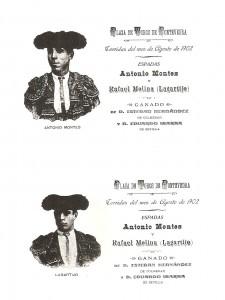 Postales que se repartían al público en las corridas de agosto de 1902