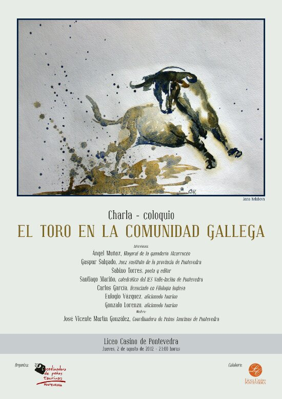 """Cartel charla coloquio """"El toro en la Comunidad Gallega"""""""