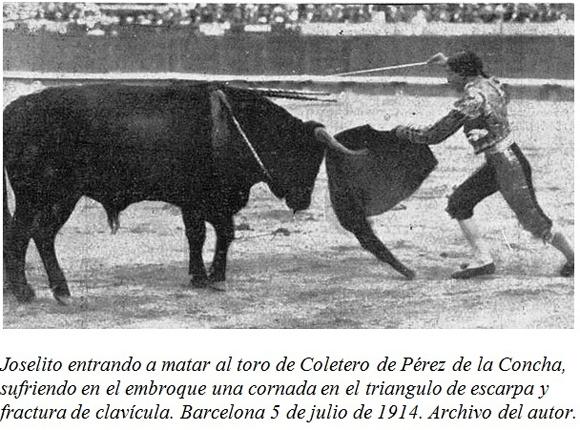 Joselito matando en la Monumental de Barcelona el 5 de Julio de 1914