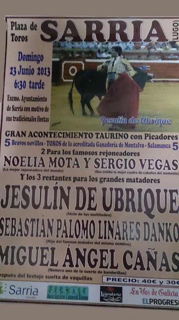 Cartel Novillada de Sarria 2013