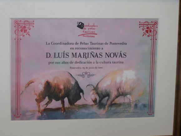 Diploma homenaje de la Coordinadora de peñas taurinas de Pontevedra