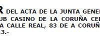 Acta Junta Sporting Casino Coruña