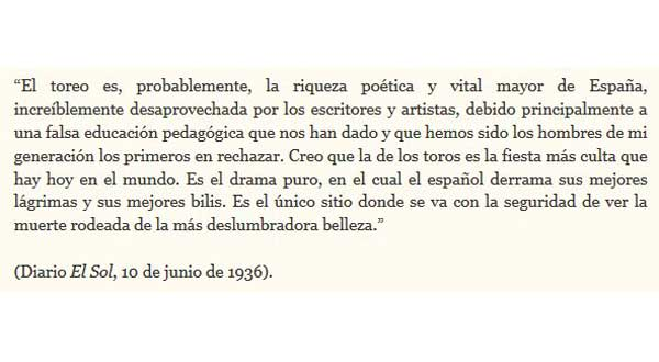 Escrito de Federico García Lorca en defensa de la tauromaquia